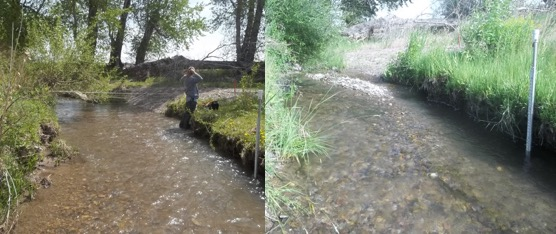 Gravel Bar Formation Above Dry Creek At The Mouth Gauge Location, (left, 5/11/15; Right, 7/7/15) Showing Active Bed And Sediment Transport.